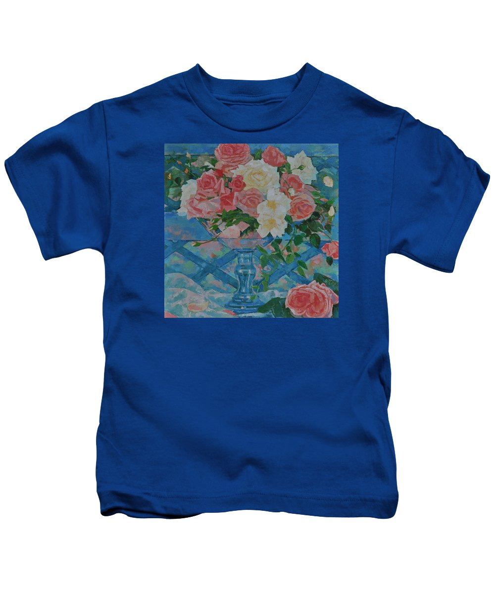 Roses Kids T-Shirt featuring the painting Roses by Iliyan Bozhanov