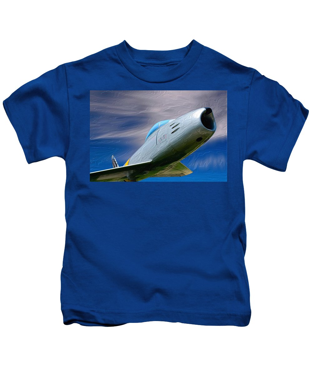 Saber Kids T-Shirt featuring the painting Saber Jet by Michael Tucker