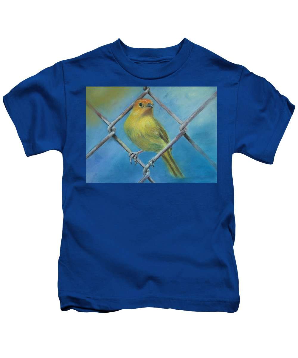 Bird Kids T-Shirt featuring the painting Safron Finch by Ceci Watson