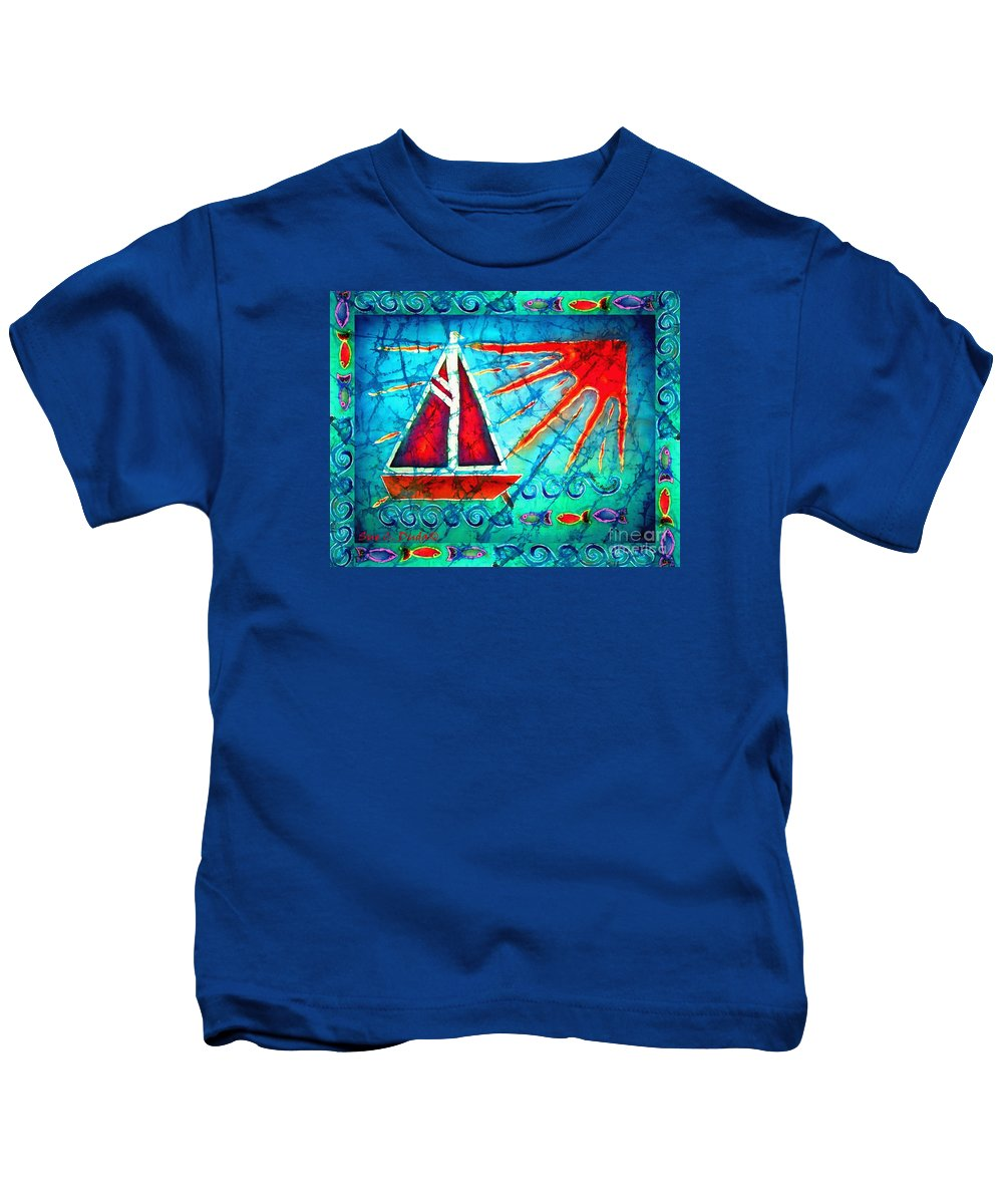 Sailboat Kids T-Shirt featuring the painting Sailboat In The Sun by Sue Duda