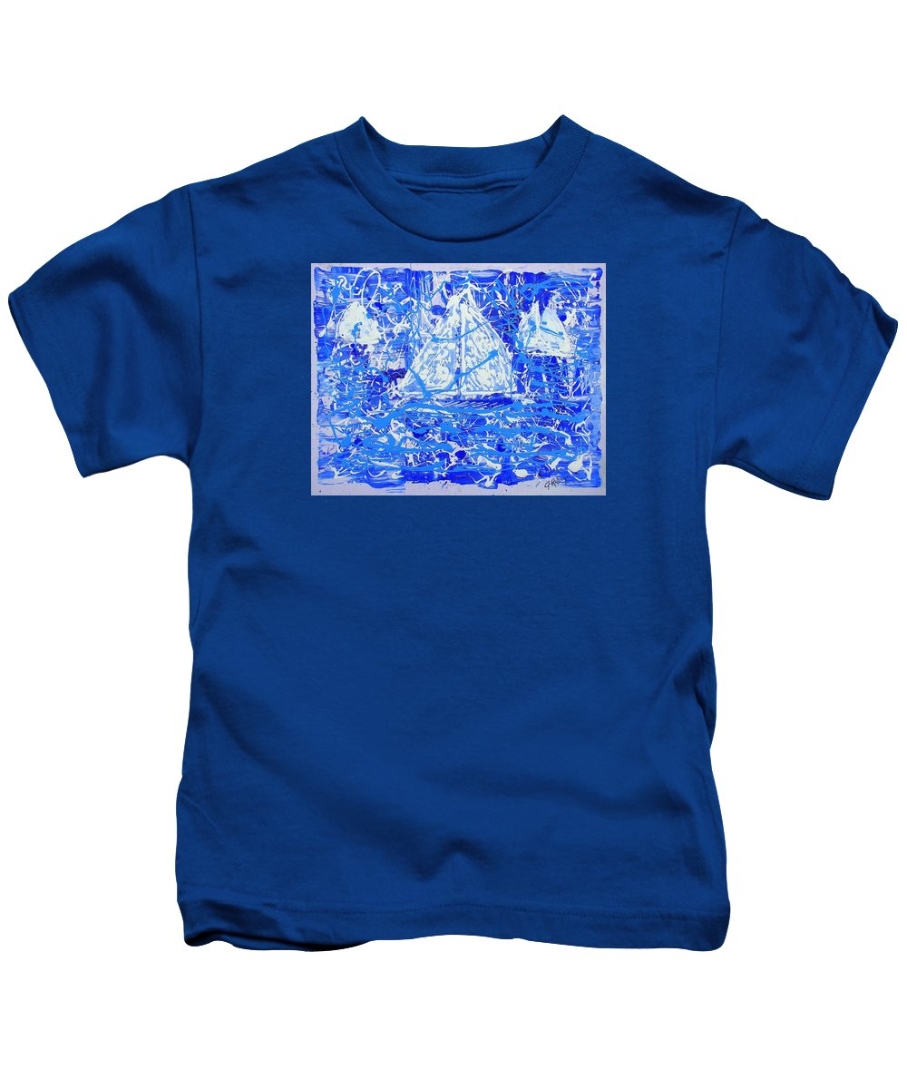 Sailing Kids T-Shirt featuring the painting Sailing With Friends by J R Seymour