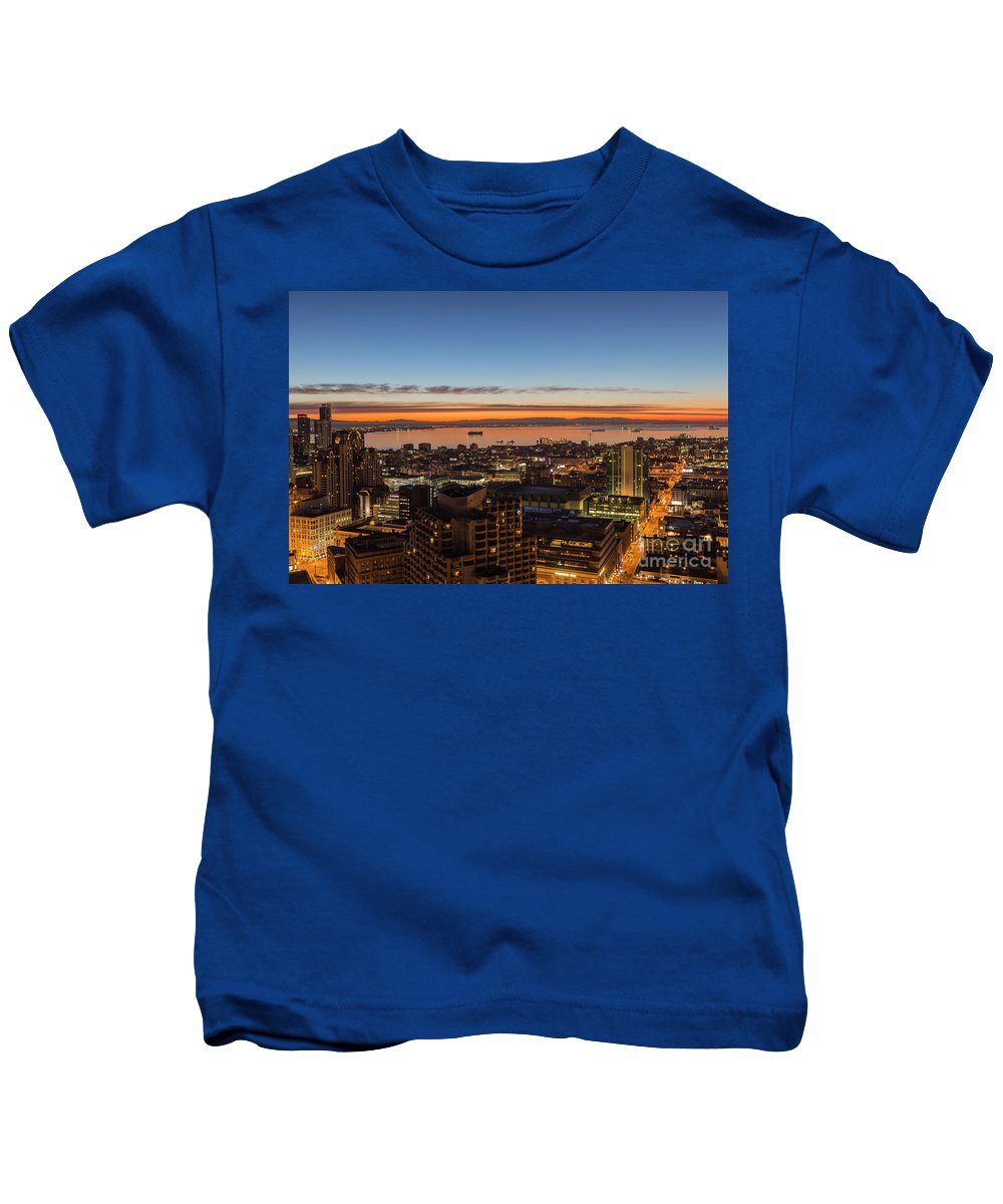 San Francisco Kids T-Shirt featuring the photograph San Francisco Bay Early Morning Glow by Trekkerimages Photography