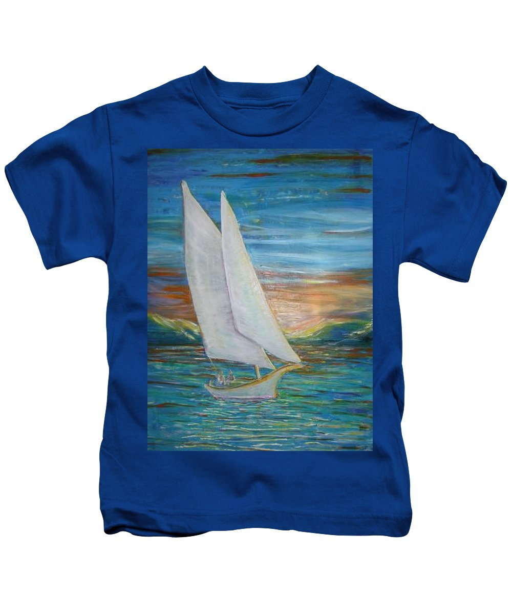 Sailboat Kids T-Shirt featuring the painting Saturday Sail by Regina Walsh