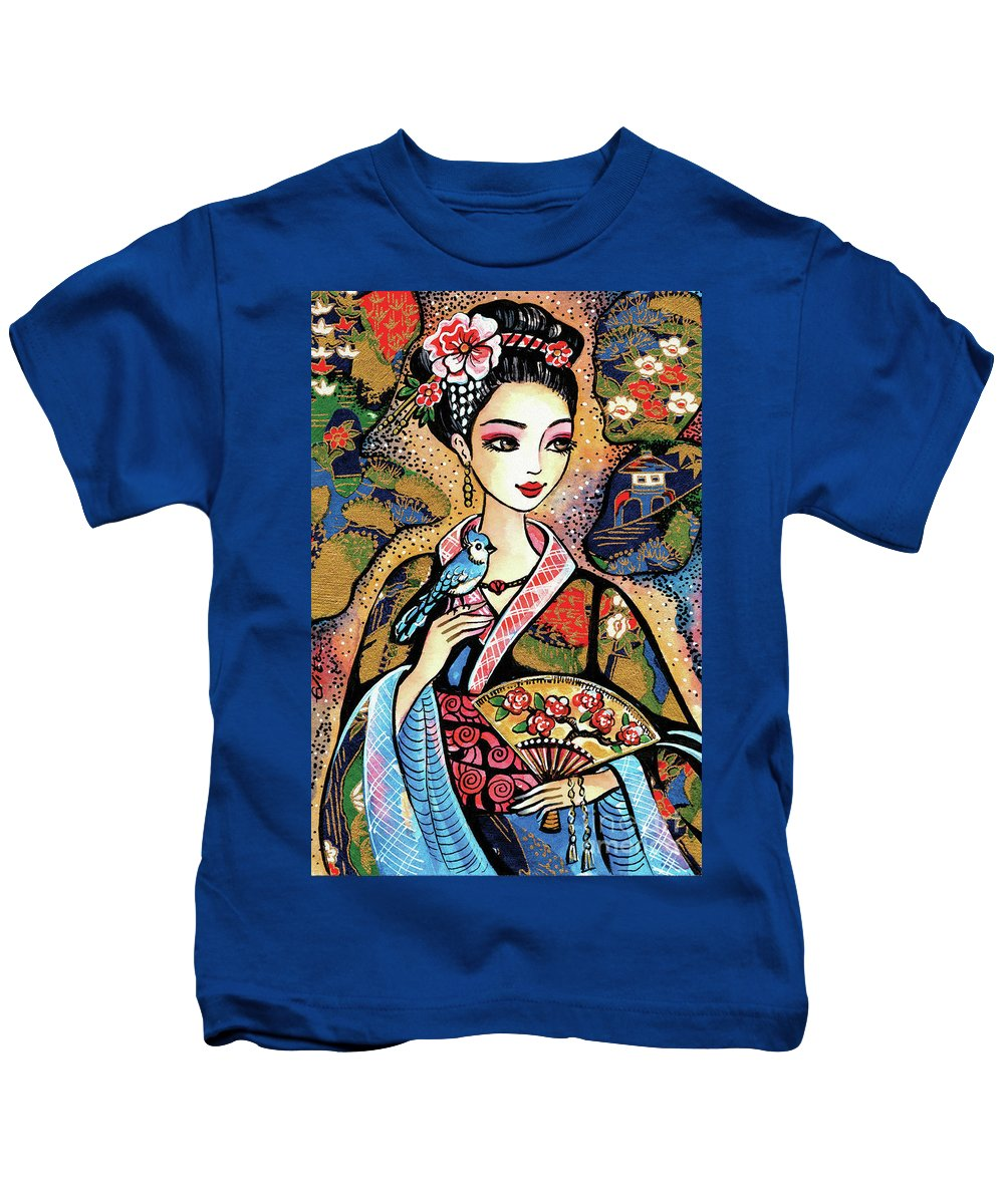 Woman And Bird Kids T-Shirt featuring the painting Sayuri by Eva Campbell