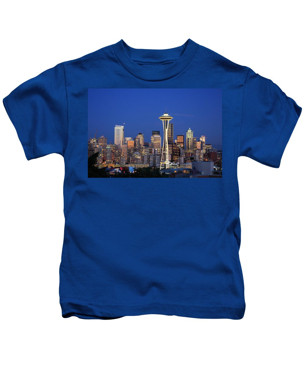 3scape Photos Kids T-Shirt featuring the photograph Seattle At Dusk by Adam Romanowicz