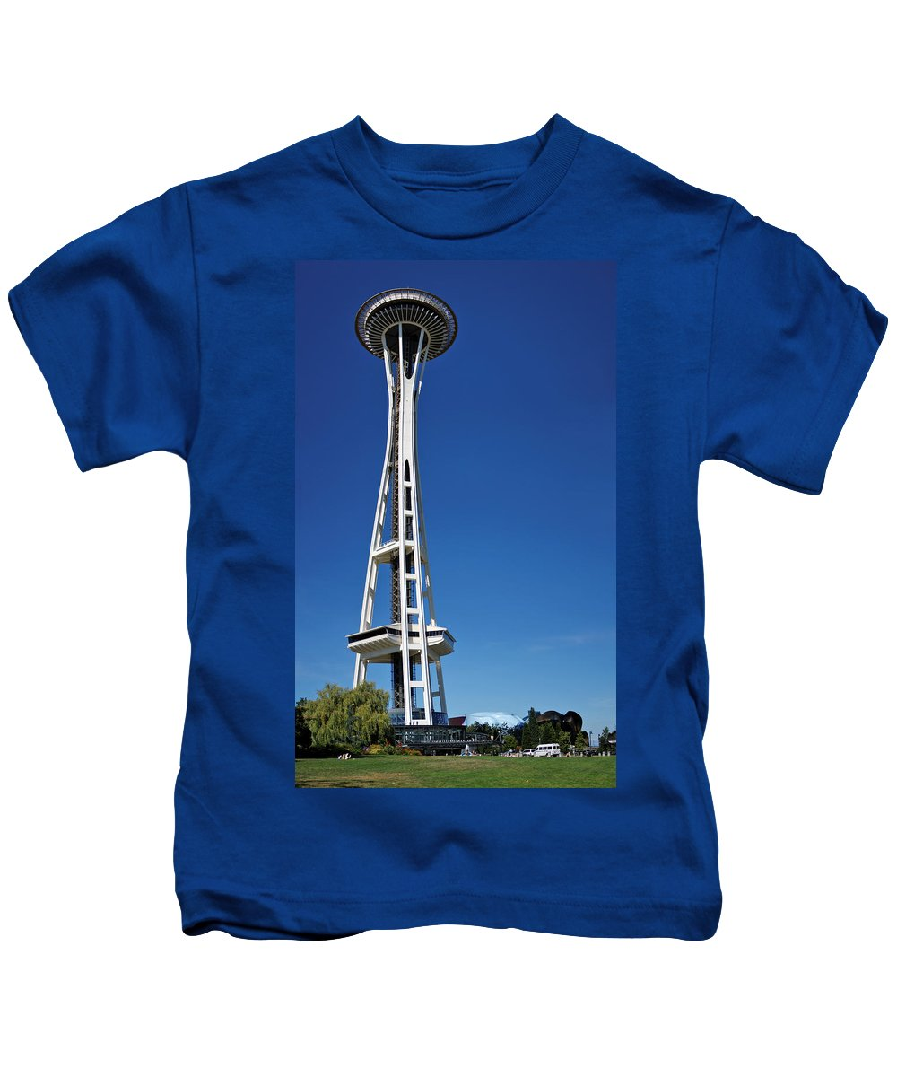 3scape Kids T-Shirt featuring the photograph Seattle Space Needle by Adam Romanowicz