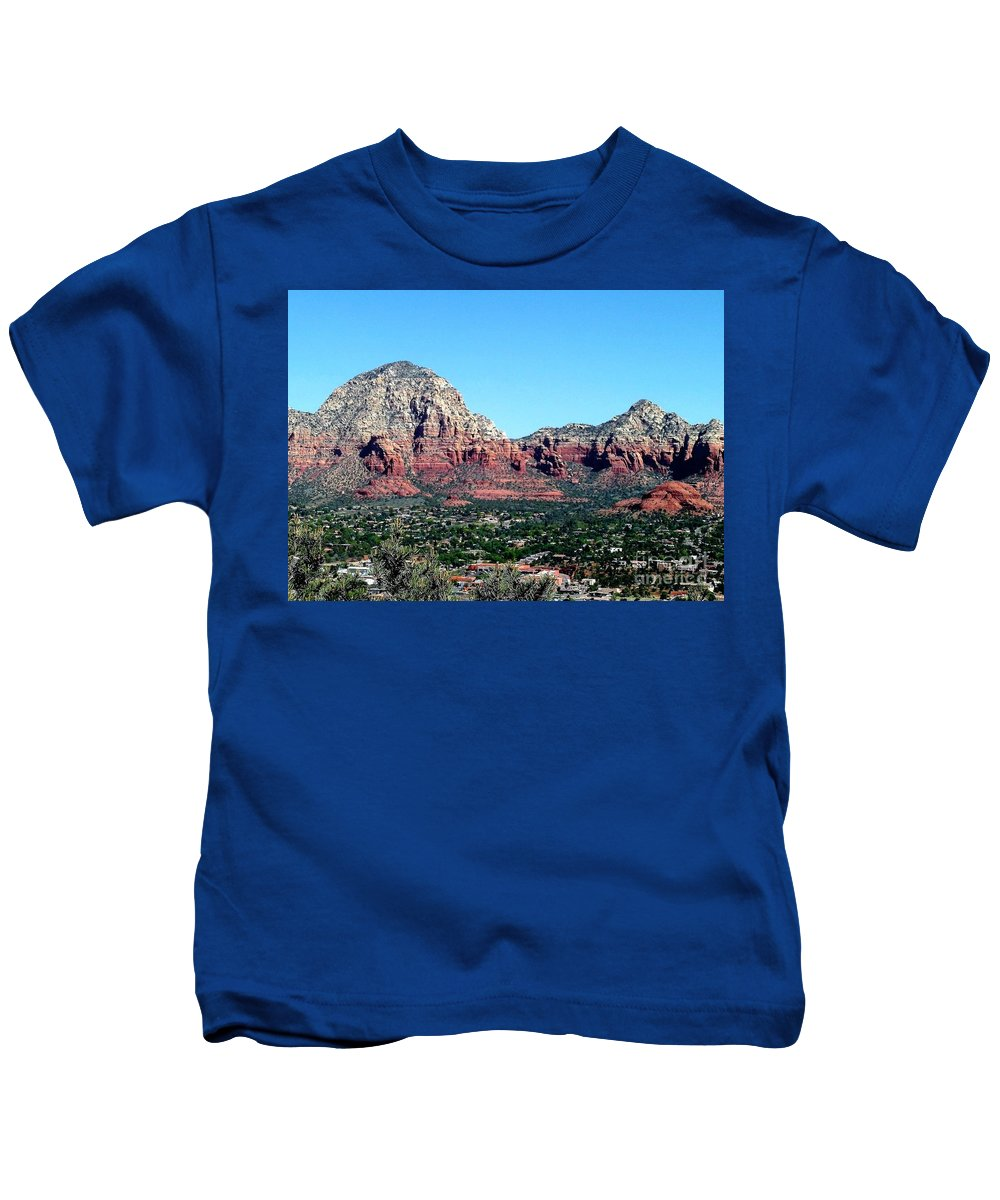 Sedona Kids T-Shirt featuring the photograph Sedona Arizona City Scape by Diann Fisher
