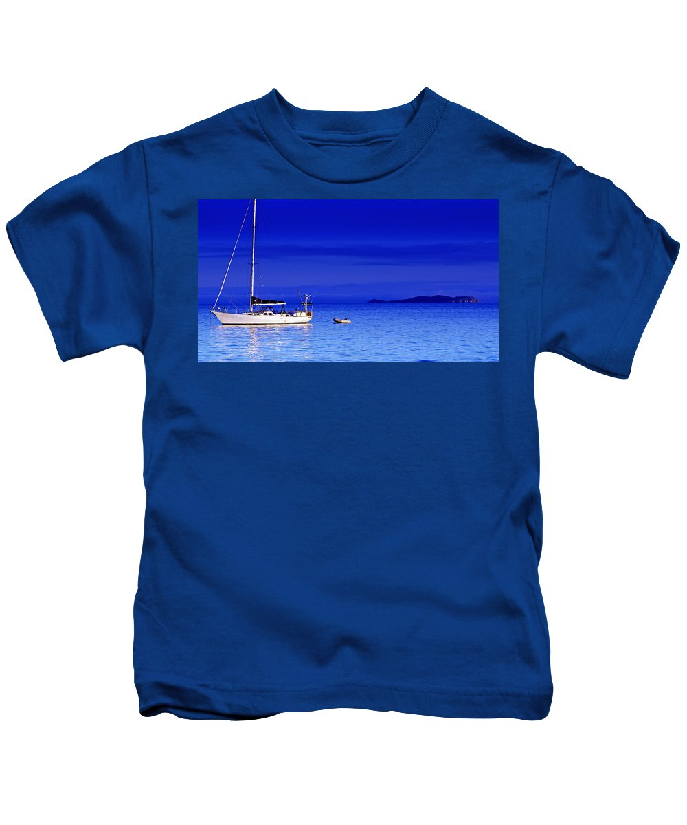 Transportation. Boats Kids T-Shirt featuring the photograph Serene Seas by Holly Kempe