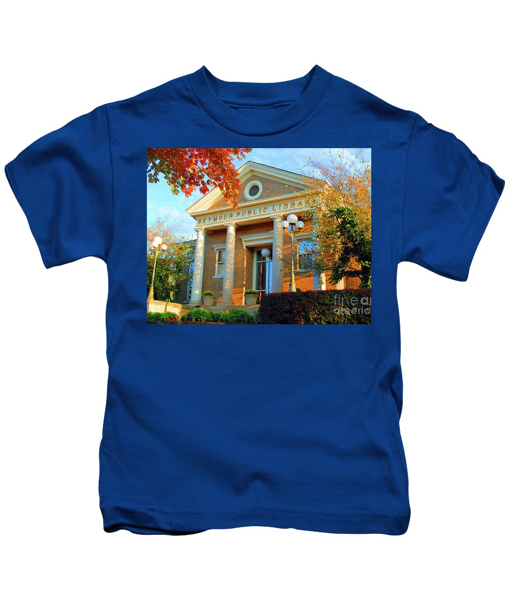 Seymour Kids T-Shirt featuring the photograph Seymour Public Library by Jost Houk