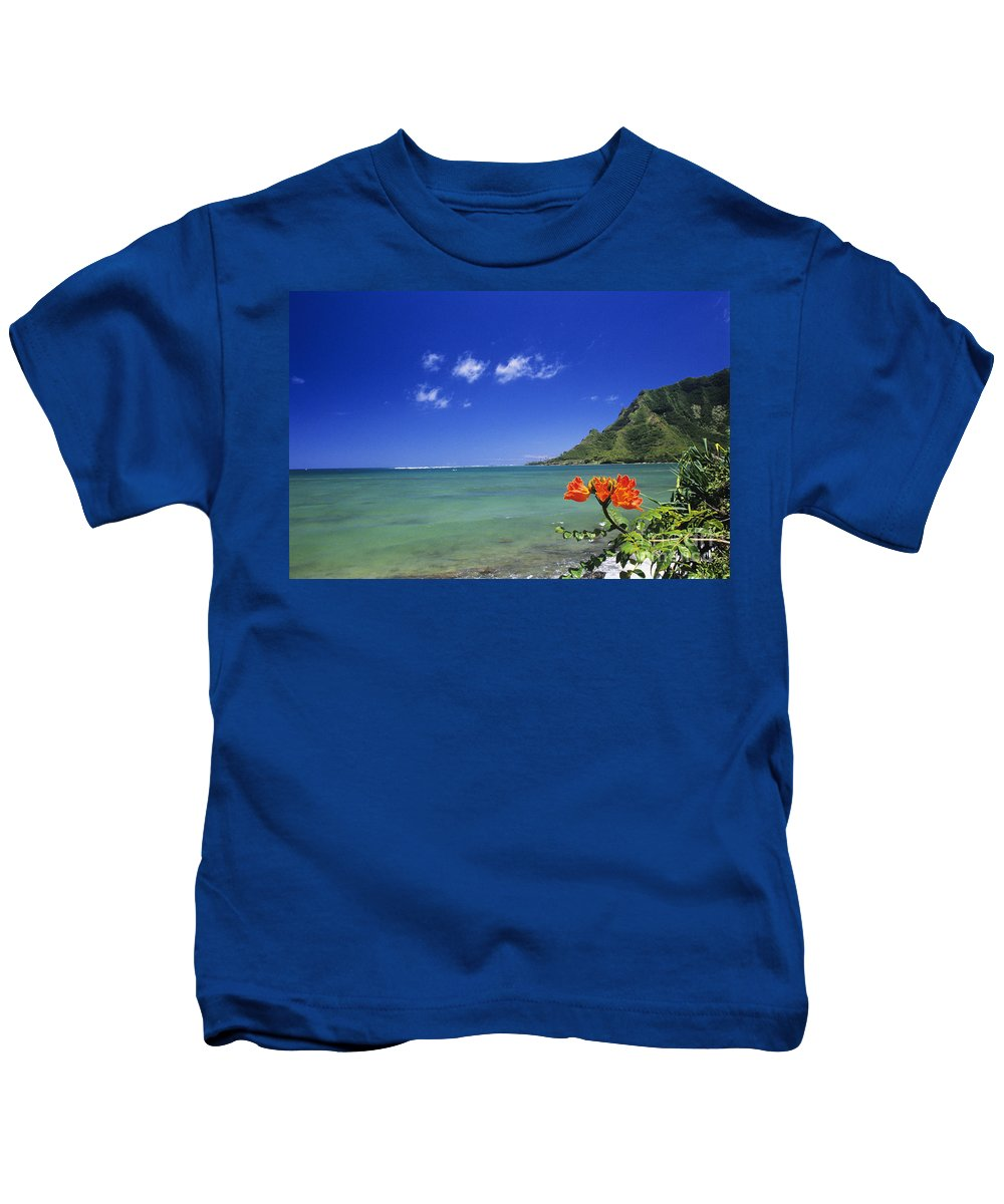 Bay Kids T-Shirt featuring the photograph Shorline With Flower by William Waterfall - Printscapes