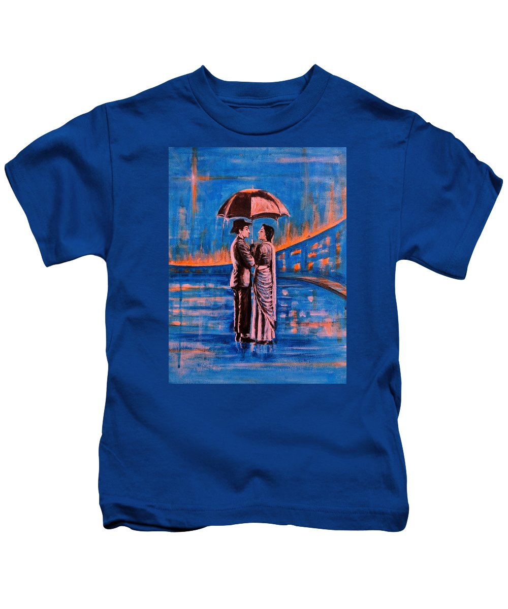 Shree Kids T-Shirt featuring the painting Shree 420 by Usha Shantharam