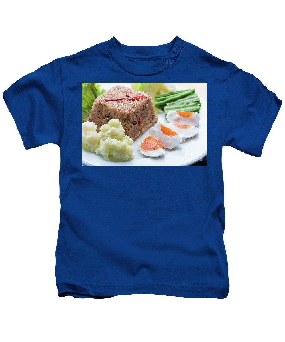 Asian Kids T-Shirt featuring the photograph Shrimp Paste Fried Rice by Atiketta Sangasaeng