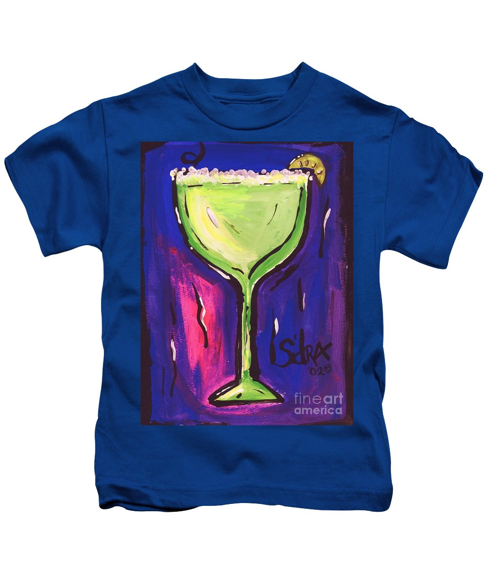 Margarita Kids T-Shirt featuring the painting Sidzart Pop Art Series 2002 Margarita Baby by Sidra Myers