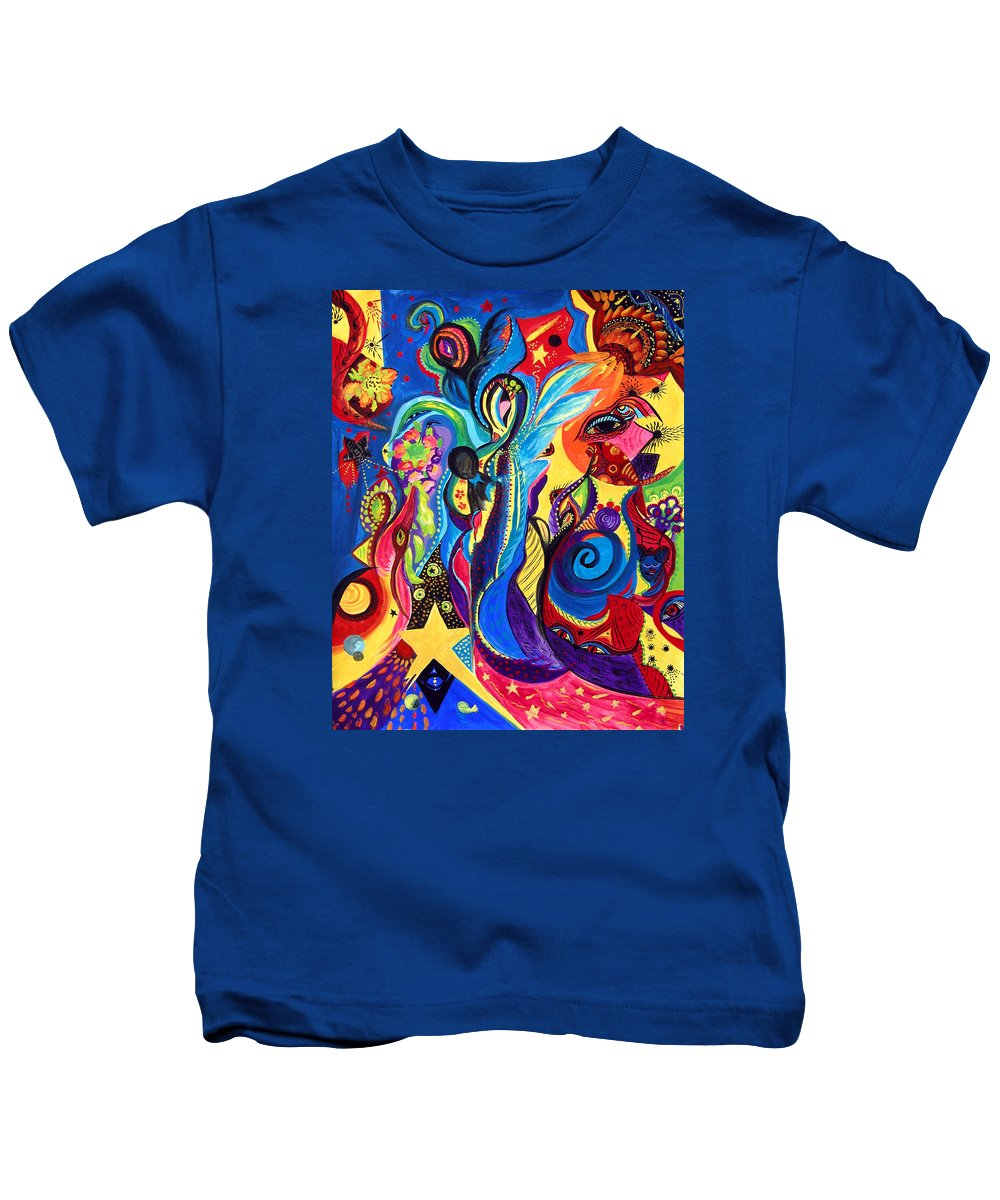 Abstract Kids T-Shirt featuring the painting Guardian Angel by Marina Petro