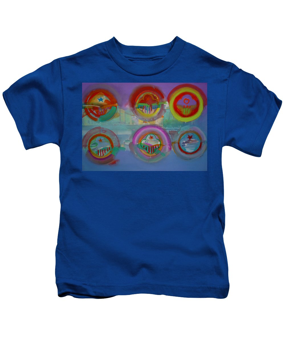 Landscape Kids T-Shirt featuring the painting Six Visions Of Heaven by Charles Stuart