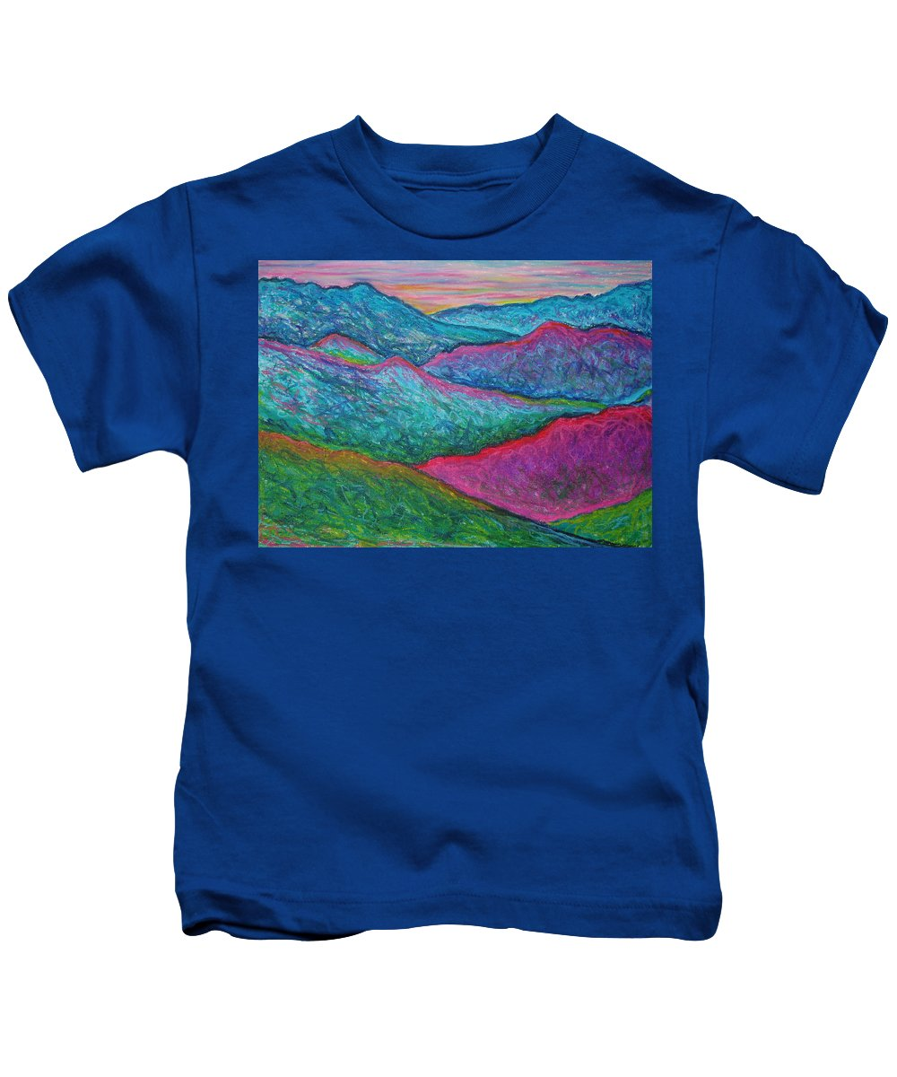 Oil Pastels Kids T-Shirt featuring the painting Smoky Mountain Abstract by Nancy Mueller