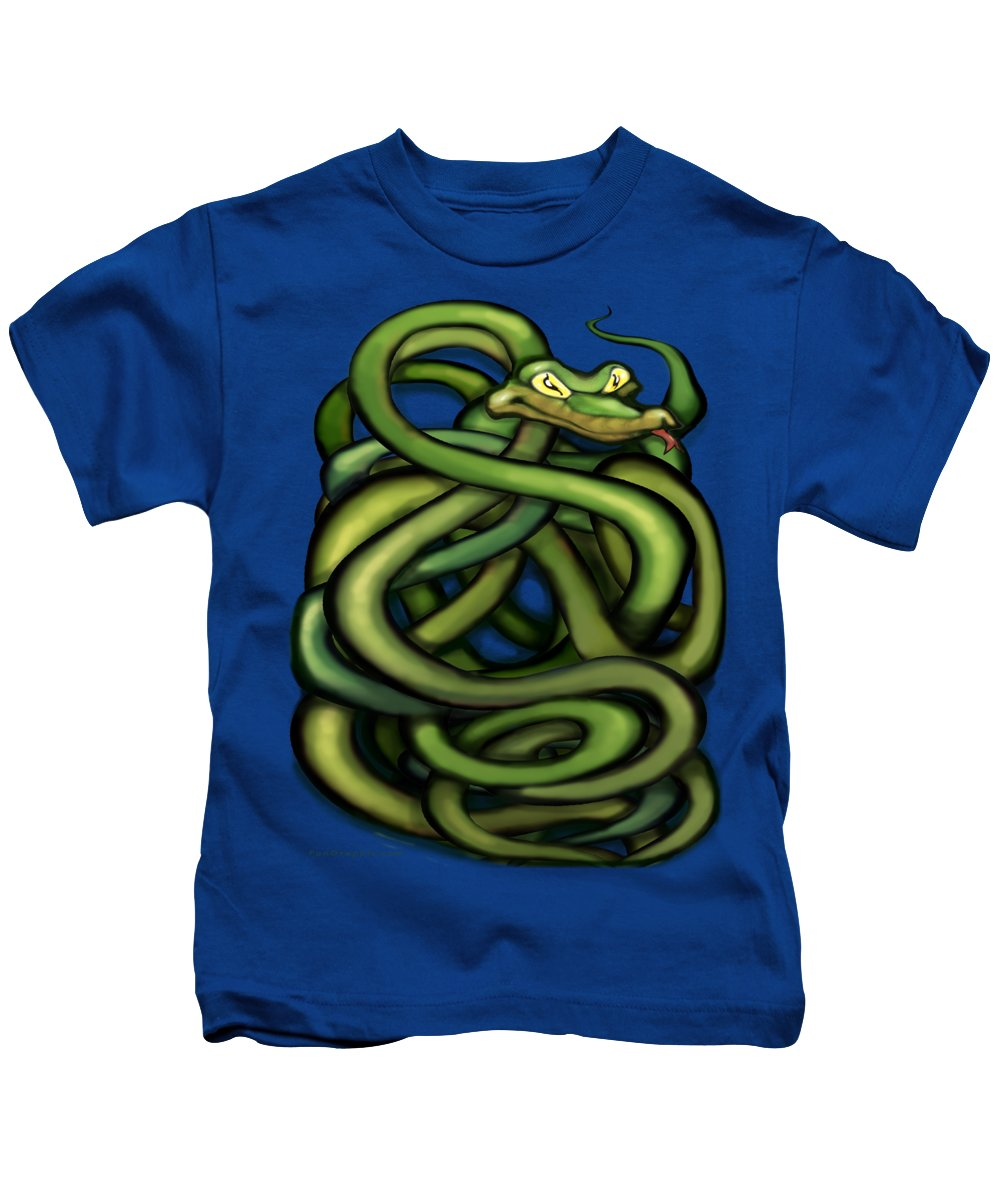 Snake Kids T-Shirt featuring the painting Snakes by Kevin Middleton