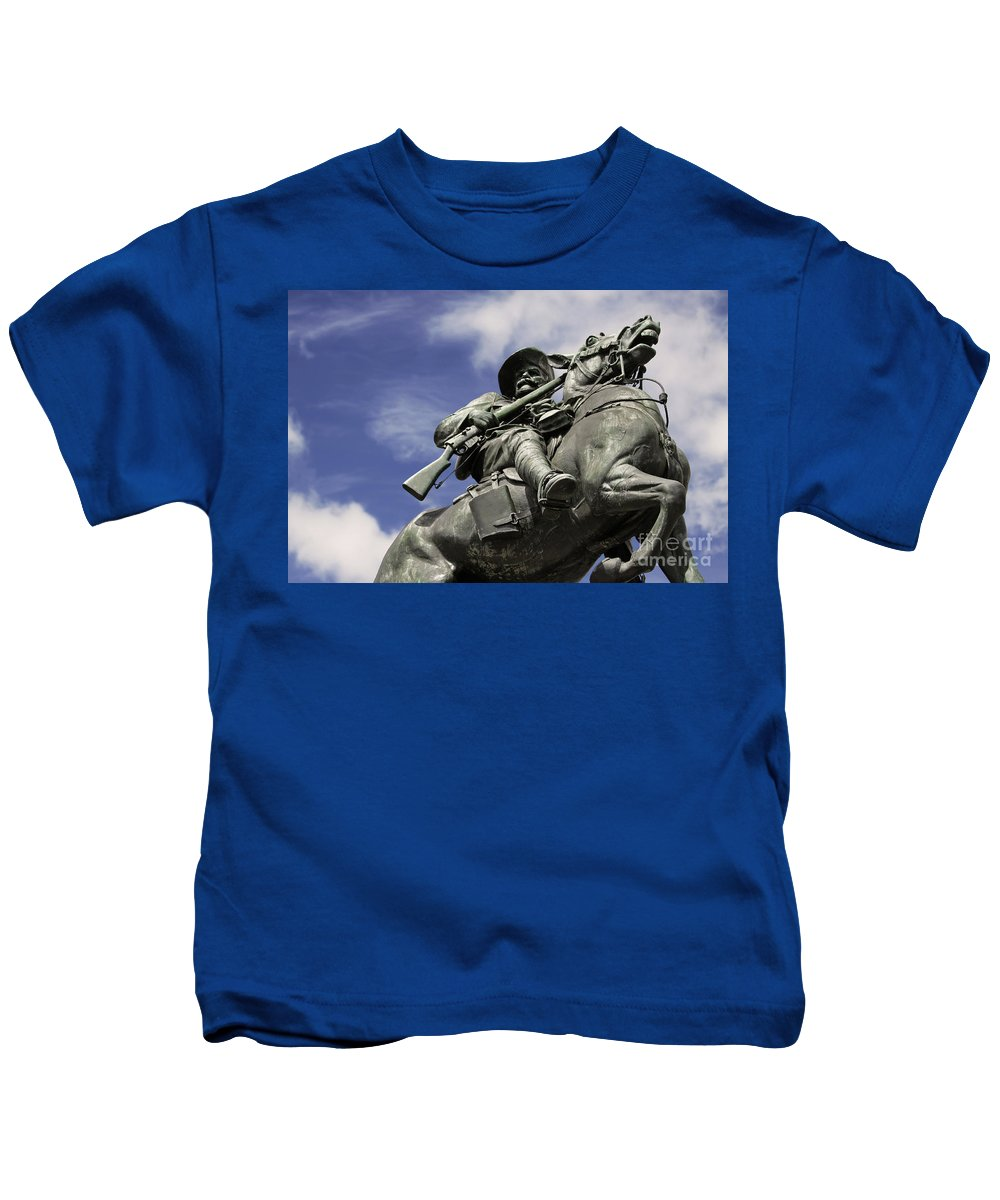 Horse Kids T-Shirt featuring the photograph Soldier In The Boer War by Stephen Mitchell