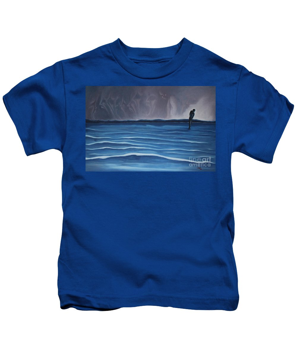 Tmad Kids T-Shirt featuring the painting Solitude by Michael TMAD Finney