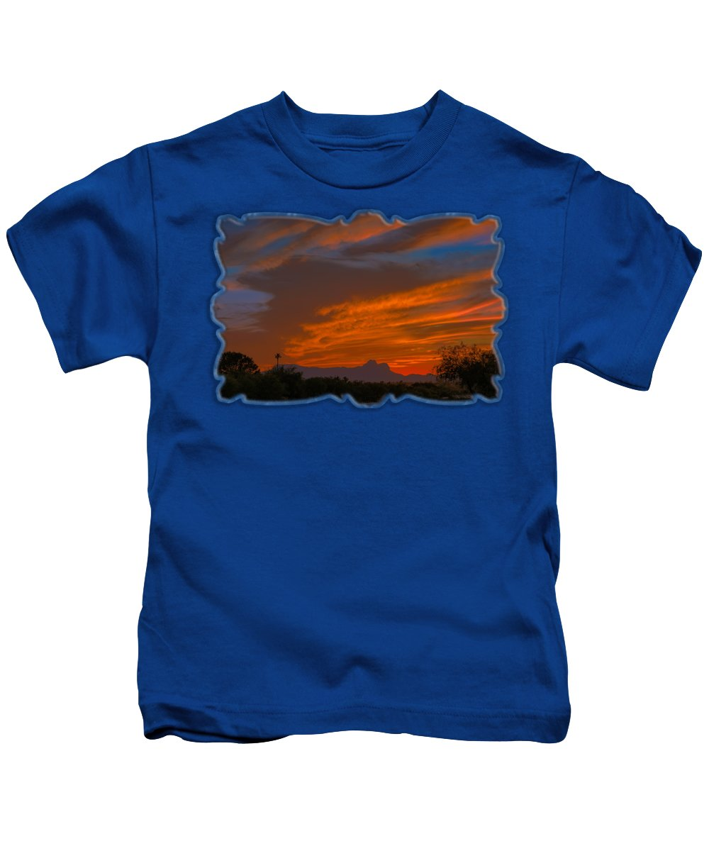 Arizona Kids T-Shirt featuring the photograph Sombrero Peaks Sunset H9 by Mark Myhaver