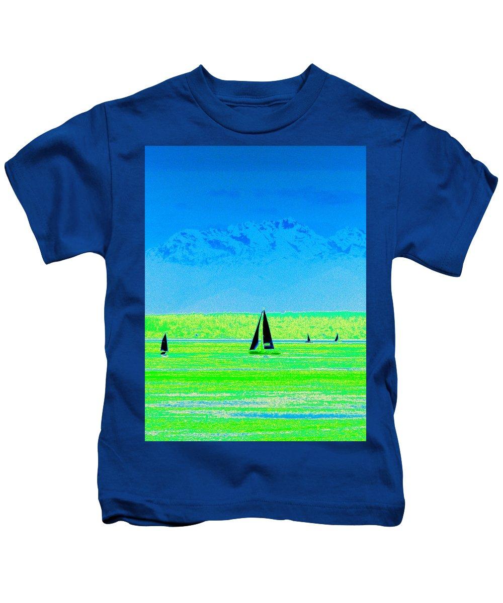 Sail Kids T-Shirt featuring the photograph Sound Sailin by Tim Allen