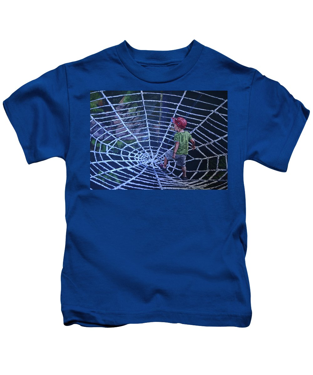 Spider Man Kids T-Shirt featuring the painting Spider Man by Valerie Patterson