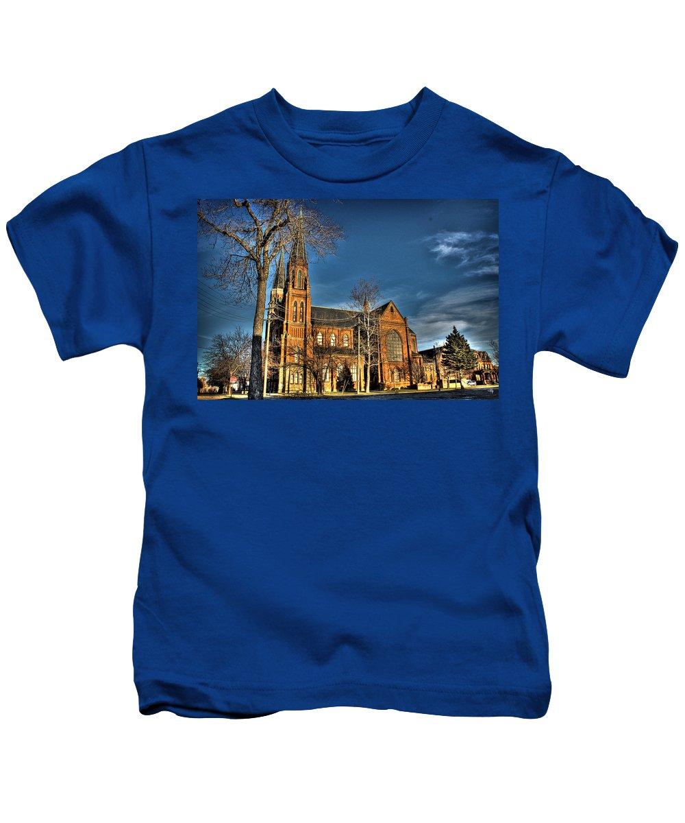 Kids T-Shirt featuring the photograph St. Annes Detroit Mi by Nicholas Grunas