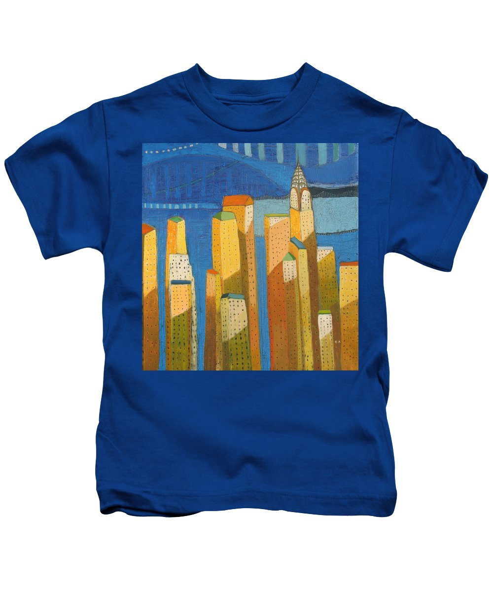 Abstract Cityscape Kids T-Shirt featuring the painting Standing High by Habib Ayat