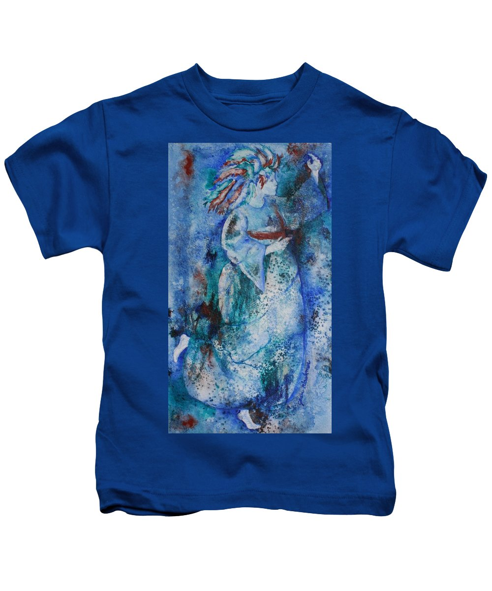Abstract Kids T-Shirt featuring the painting Star Dancer by Jean Blackmer