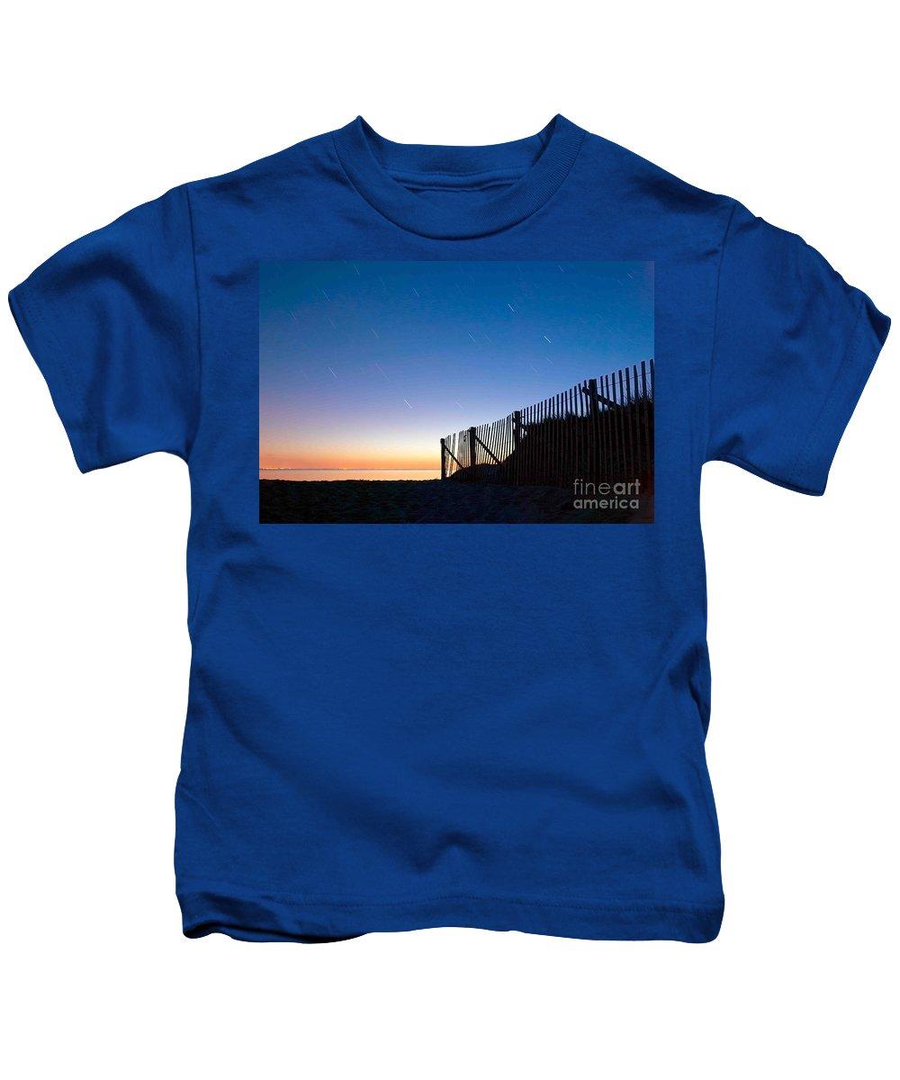 Wellfleet Kids T-Shirt featuring the photograph Star Trails In Wellfleet Cape Cod by Matt Suess