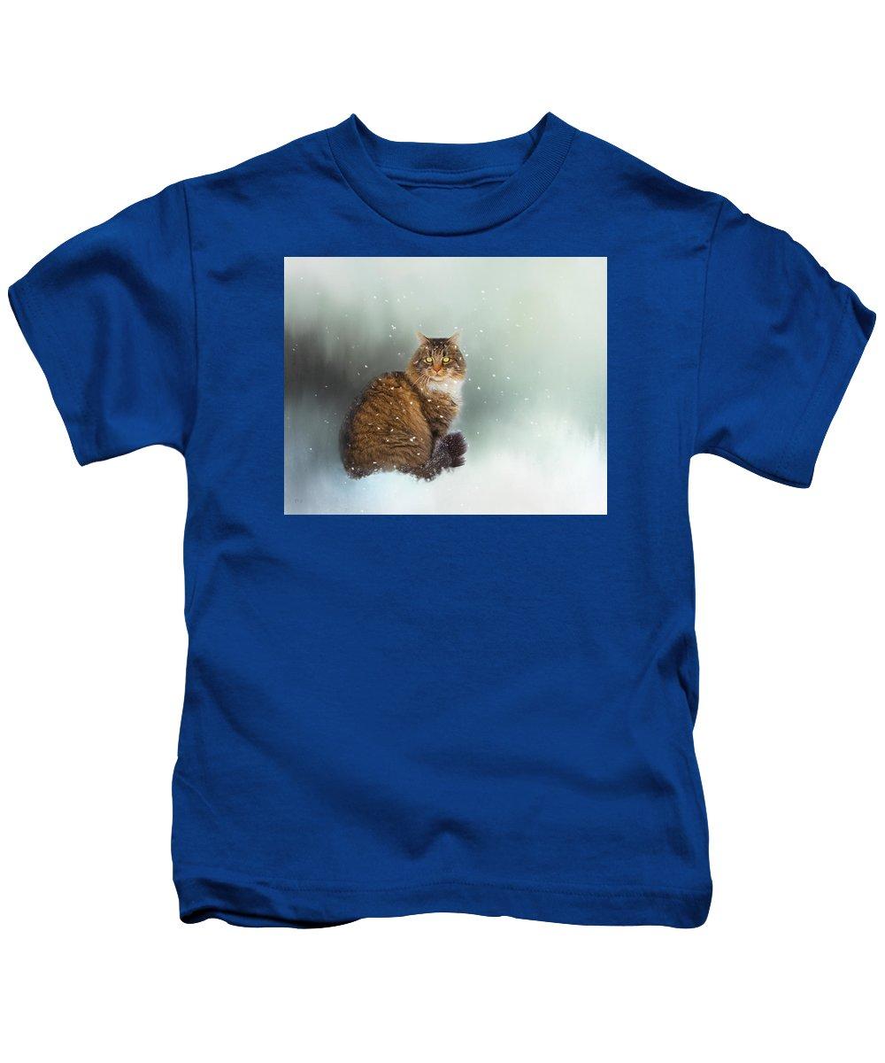 Theresa Tahara Kids T-Shirt featuring the photograph Starting To Snow Again by Theresa Tahara