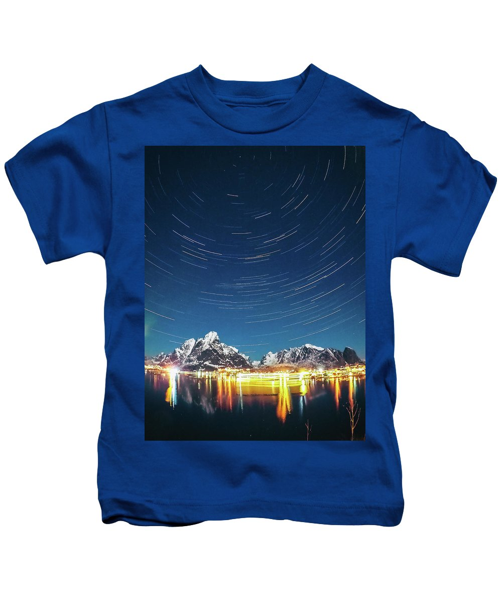 Landscape Kids T-Shirt featuring the photograph Startrails Above Reine by Alex Conu