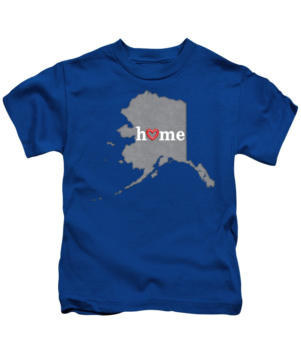Alaska Kids T-Shirt featuring the painting State Map Outline Alaska With Heart In Home by Elaine Plesser