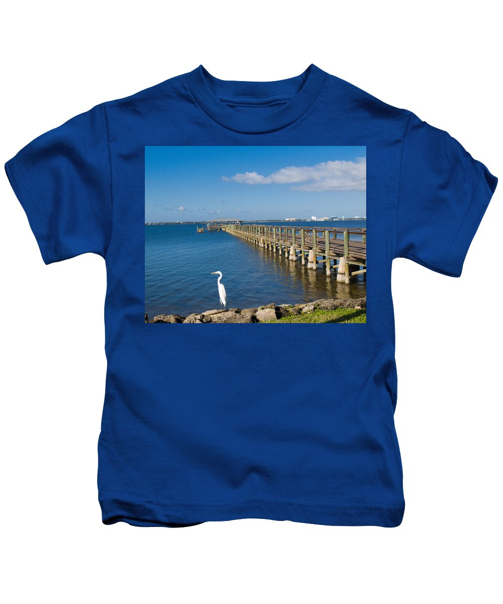 Florida; Melbourne; Beach; Atlantic; Coast; East; Space; Pier; Pineapples; Steamboat; Load; Cargo; I Kids T-Shirt featuring the photograph Steamboat Landing Ot Melbourne Beach In Florida by Allan Hughes