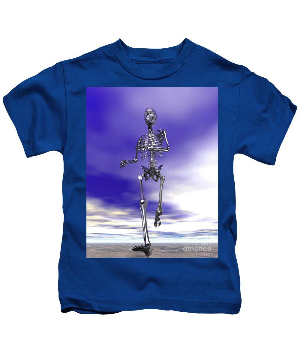 Running Kids T-Shirt featuring the digital art Steel Running Skeleton On Wet Sand by Nicholas Burningham