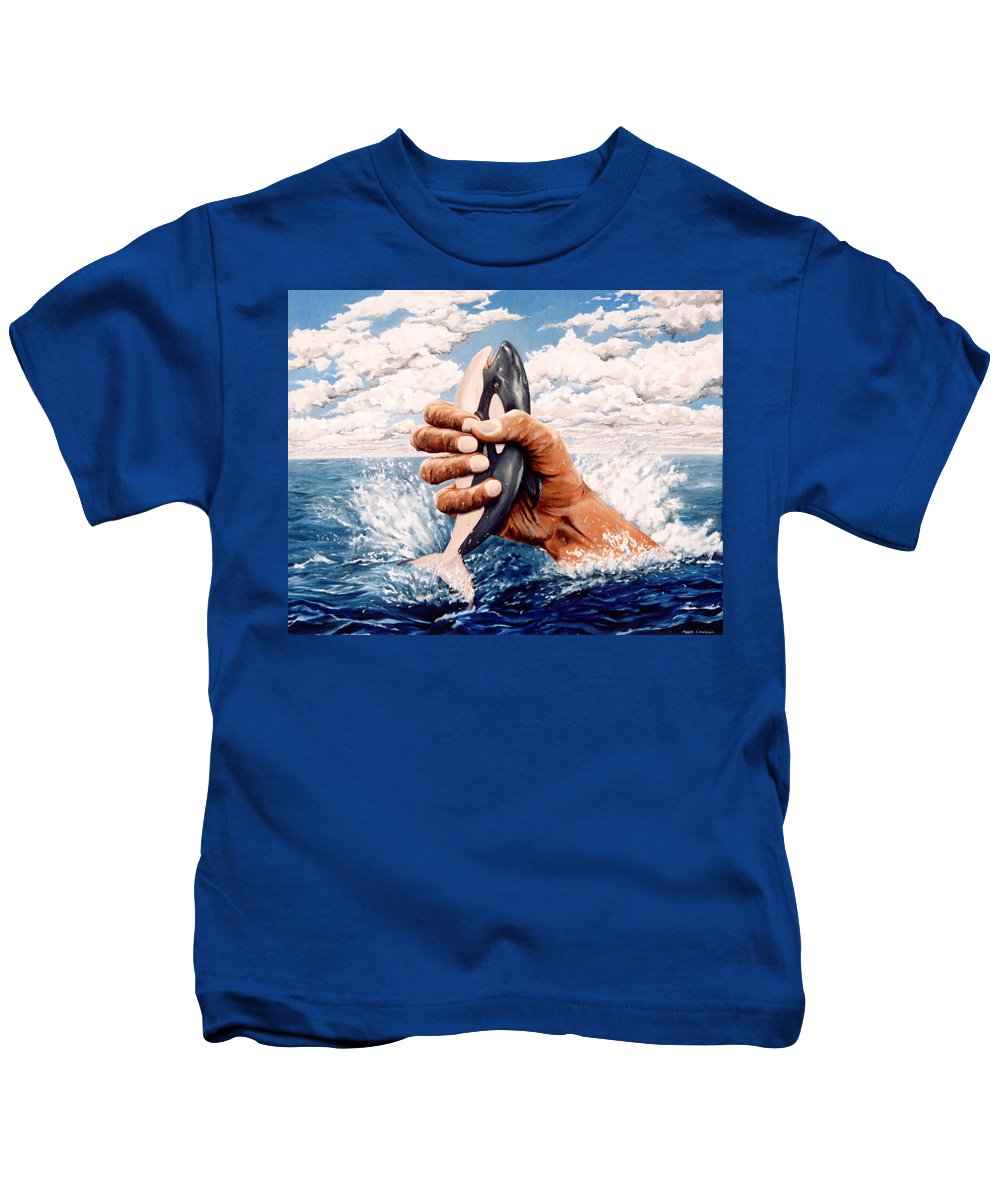 Surreal Kids T-Shirt featuring the painting Stop Whaling by Mark Cawood