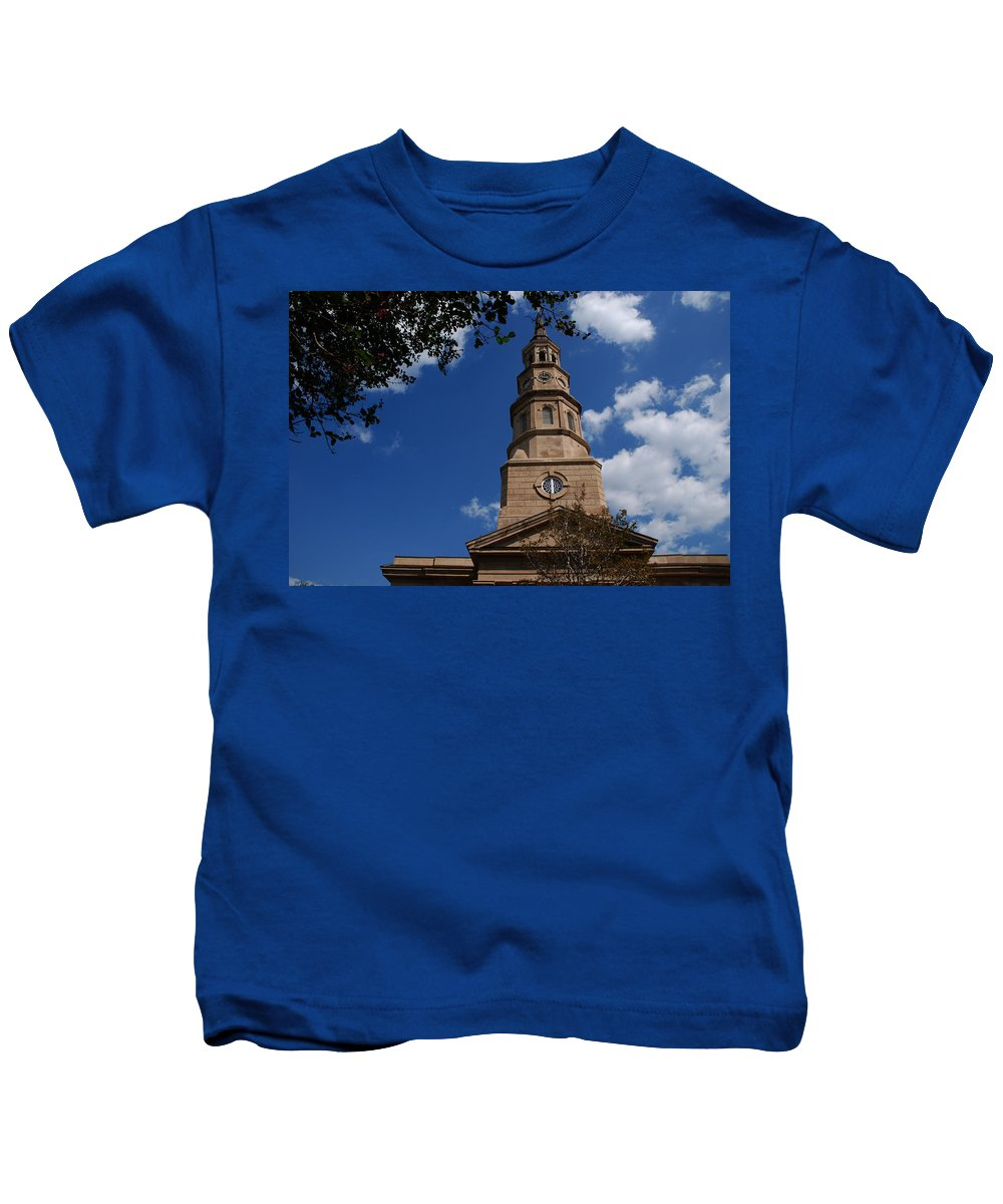 Photography Kids T-Shirt featuring the photograph St.philips Church Charleston Sc by Susanne Van Hulst