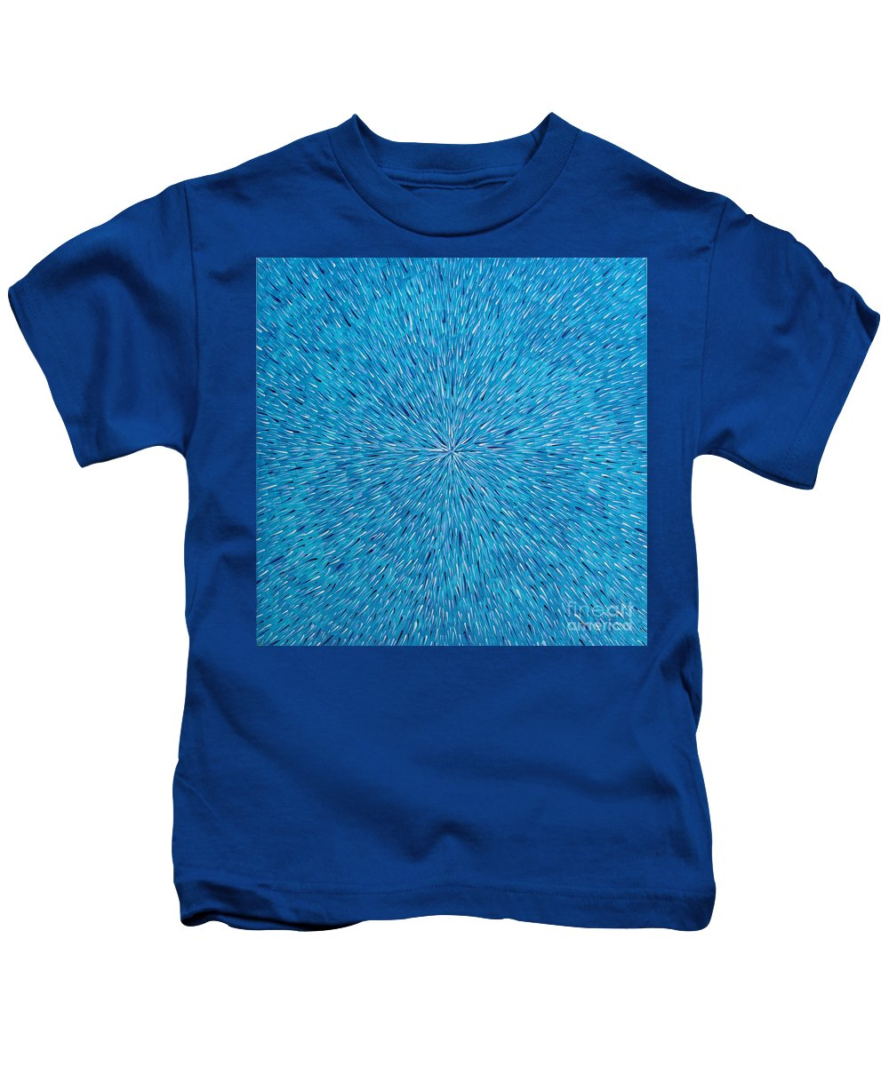 Abstract Kids T-Shirt featuring the painting Su Gaia Rain by Dean Triolo