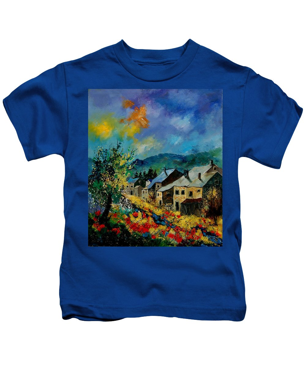 Poppies Kids T-Shirt featuring the painting Summer In Mogimont by Pol Ledent