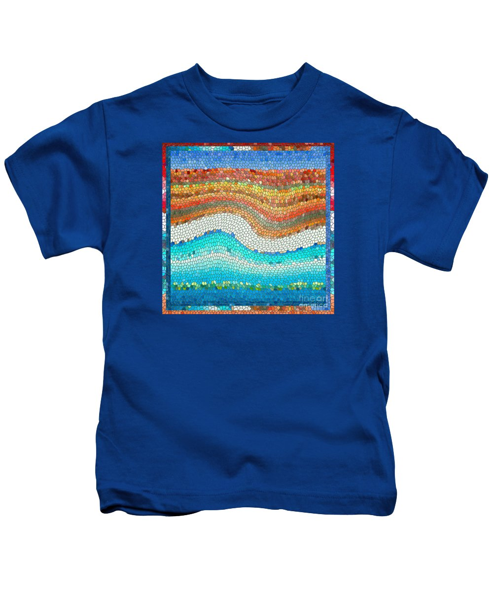 Colorful Kids T-Shirt featuring the digital art Summer Mosaic by Melissa A Benson
