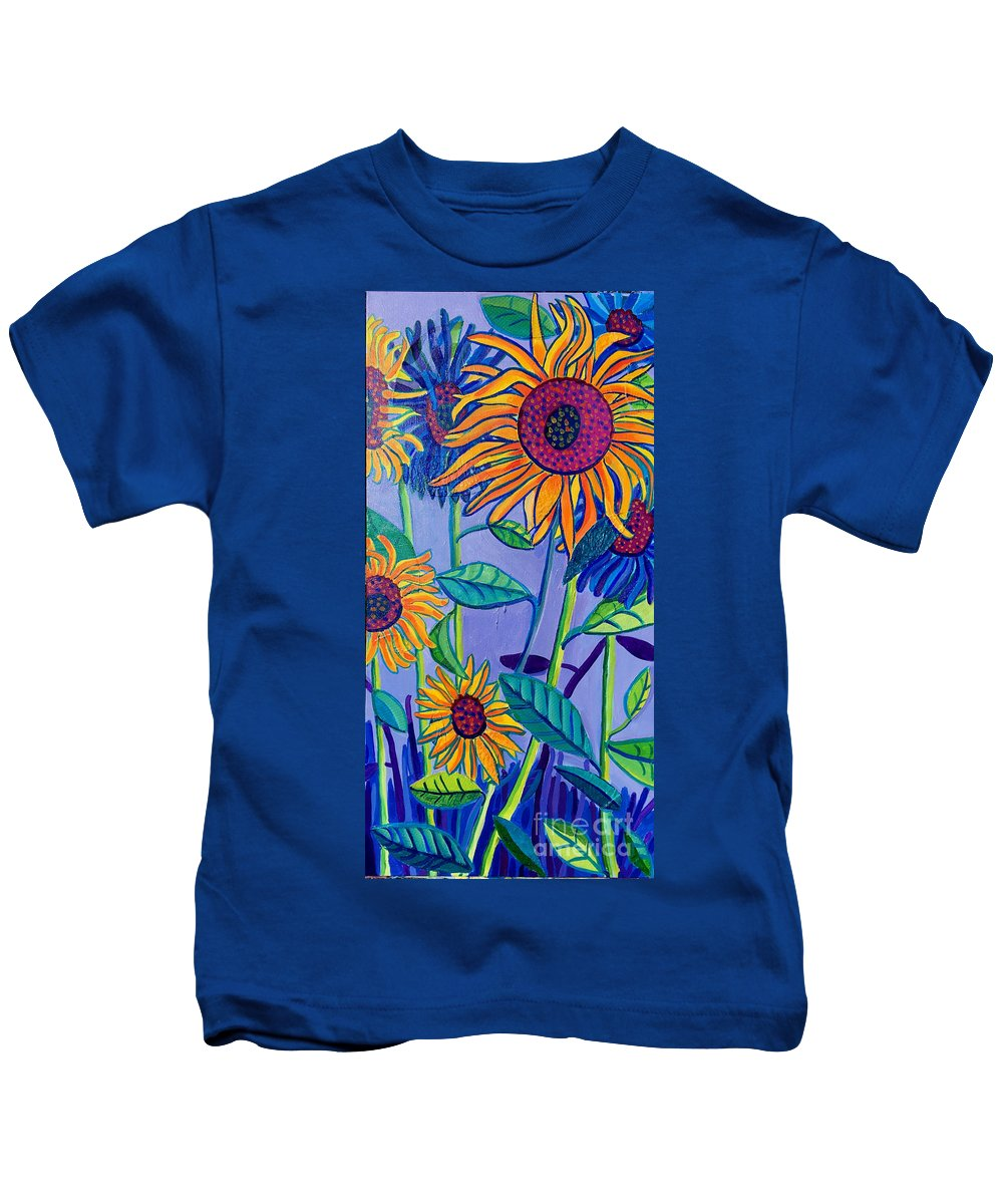 Sunflowers Kids T-Shirt featuring the painting Sunflower Garden by Debra Bretton Robinson