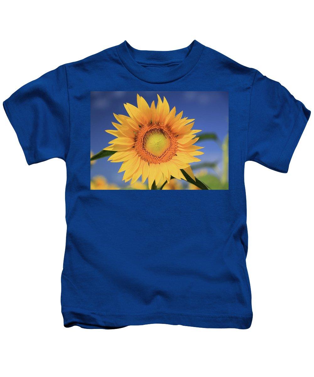 Photosbymch Kids T-Shirt featuring the photograph Sunflower by M C Hood