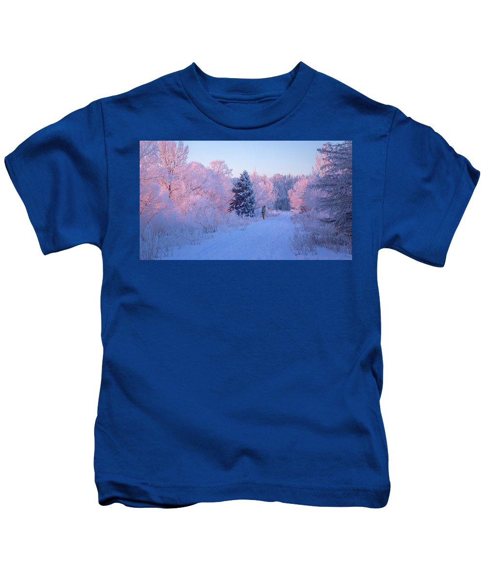 Frost Kids T-Shirt featuring the photograph Sunlight Through The Frost by Kelly C Jones