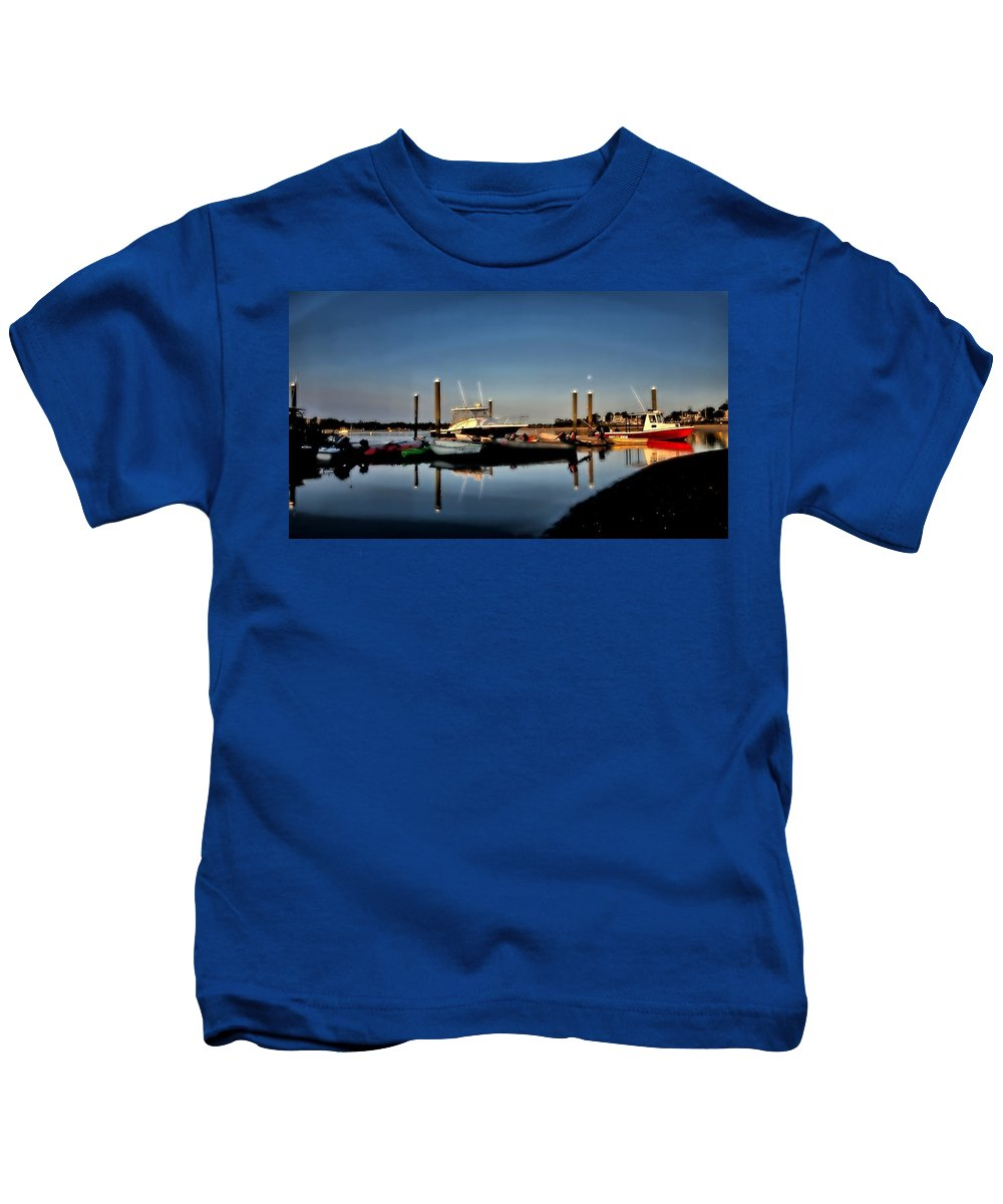 Cape Cod Kids T-Shirt featuring the photograph Sunny Morning At Onset Pier by Bruce Gannon