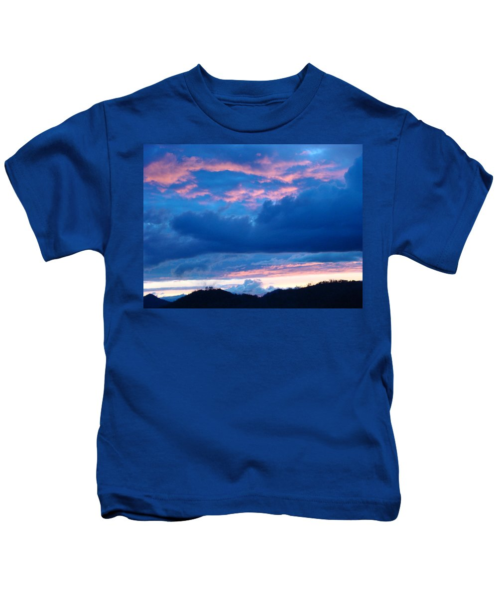 Sunset Kids T-Shirt featuring the photograph Sunset Art Print Blue Twilight Clouds Pink Glowing Light Over Mountains by Baslee Troutman