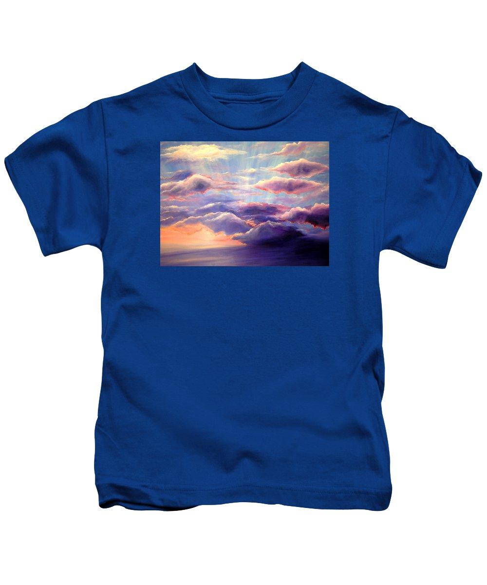 Sunset Kids T-Shirt featuring the painting Sunset by Melissa Joyfully