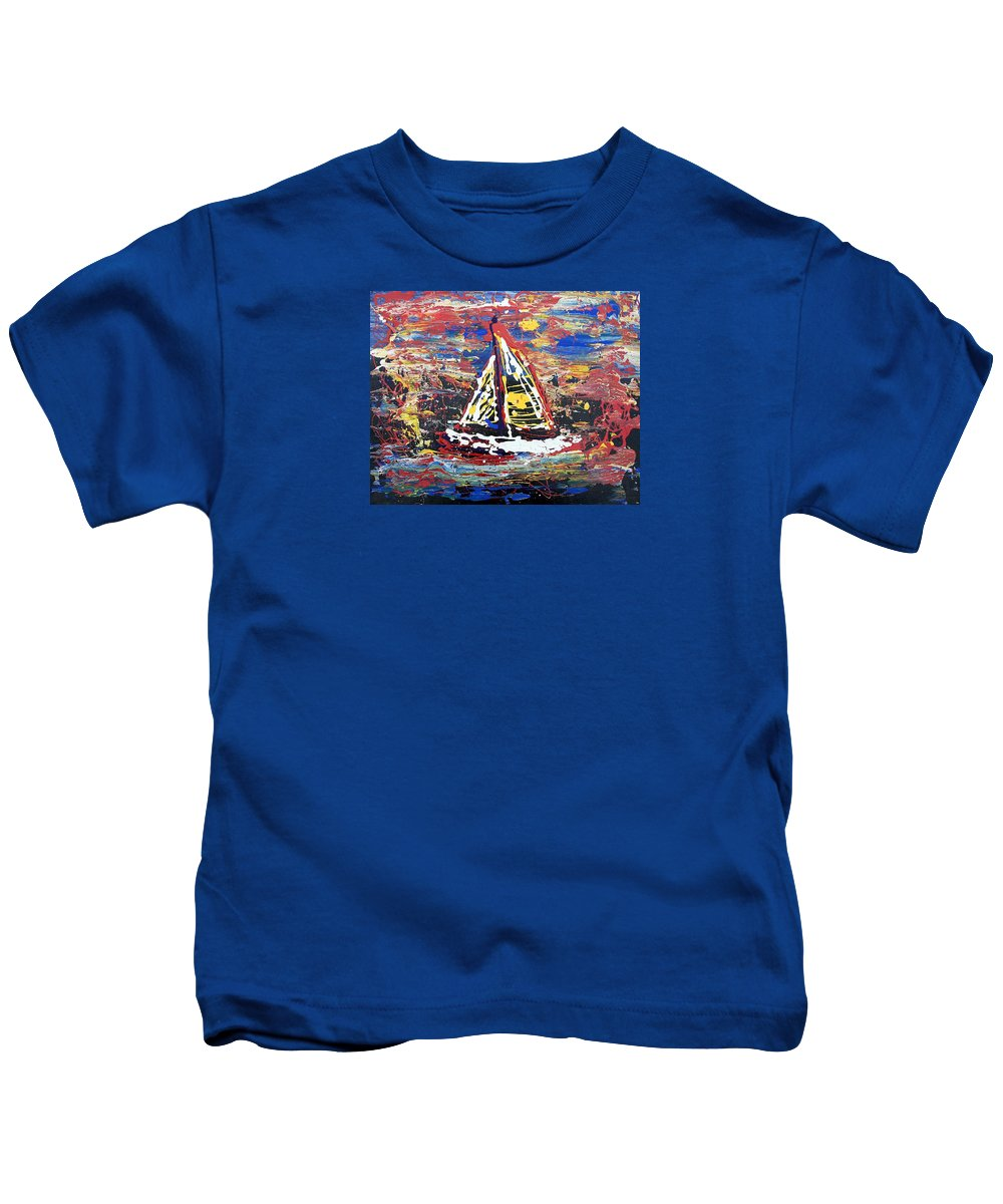 Abstract Art Kids T-Shirt featuring the painting Sunset On The Lake by J R Seymour