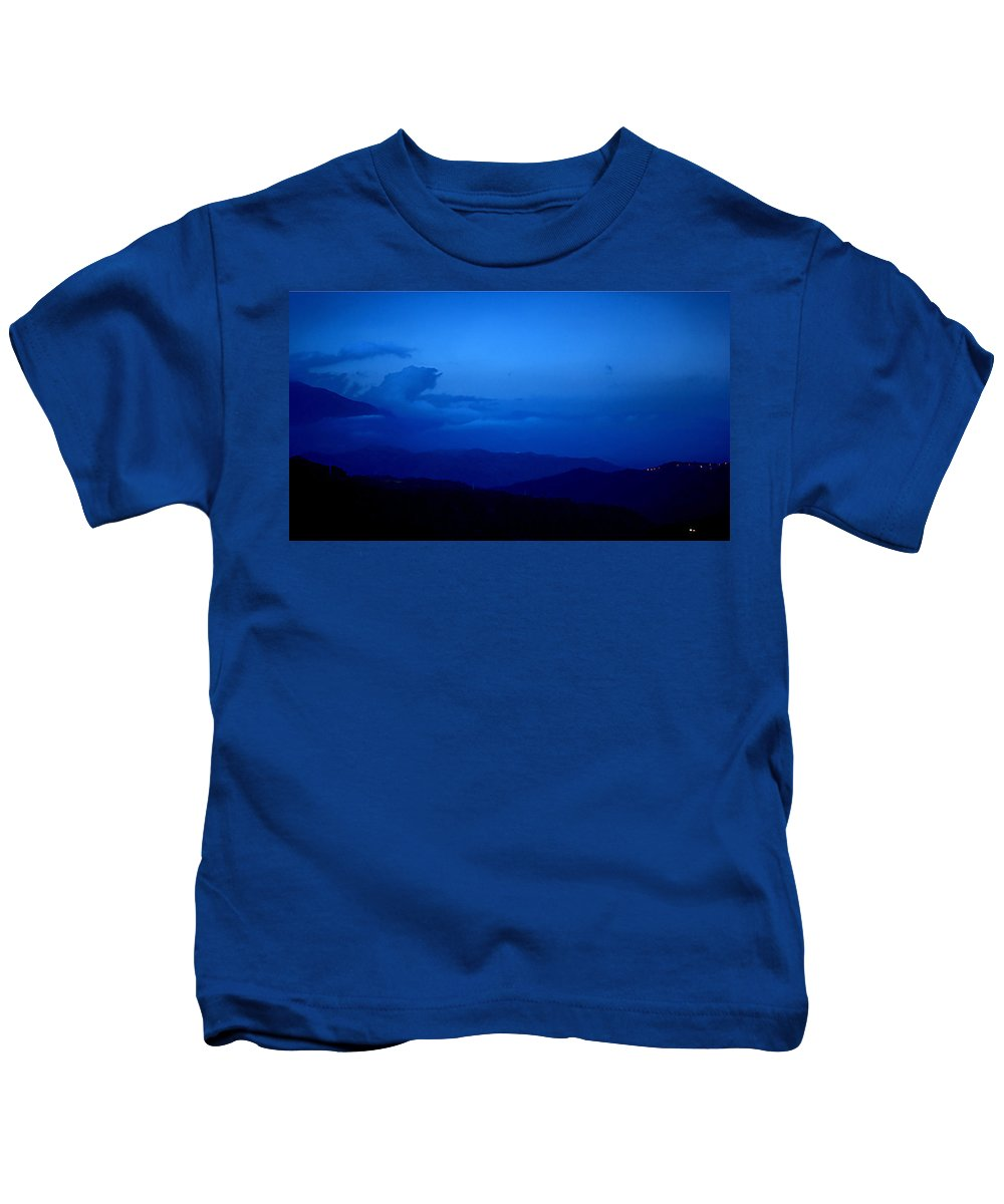 Sunset Mountains Light Clouds Sky Blue Black Kids T-Shirt featuring the photograph Sunset Over The Mountains by Galeria Trompiz