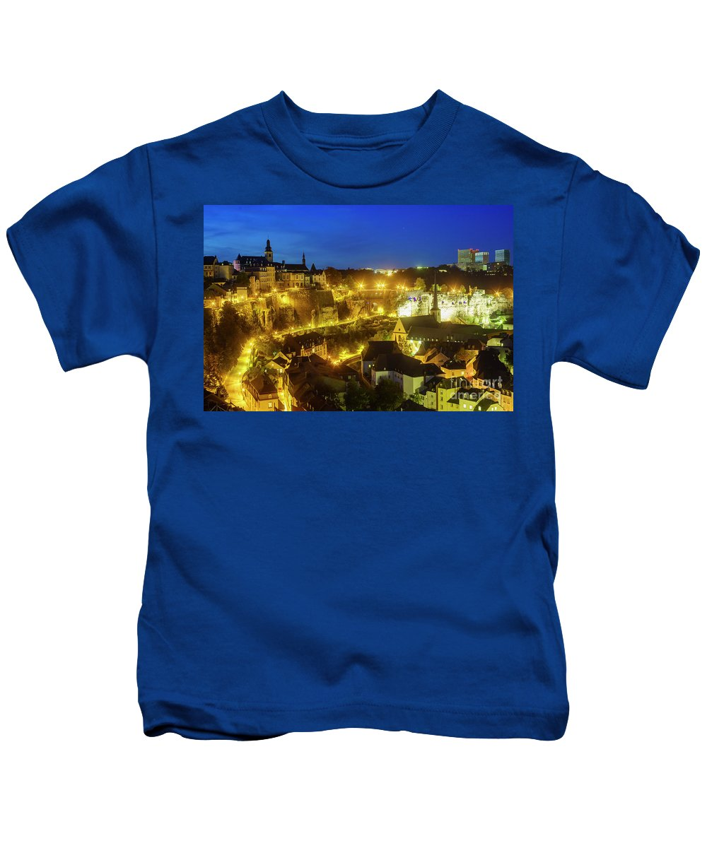Alzette Kids T-Shirt featuring the photograph Superb Aerial View From Cite Judiciaire by Chon Kit Leong
