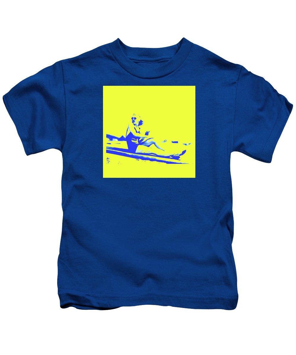 Joymckenzie Kids T-Shirt featuring the digital art Surfer Girl 1940s by Joy McKenzie